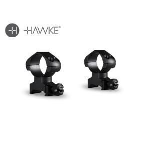 "Hawke Precision Steel Ring Mounts 1"" 2 Piece Weaver High"