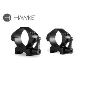 Hawke Precision Steel Ring Mounts 30mm 2 Piece Weaver Medium - Lever