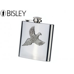 Bisley 6oz Stainless Hip Flasks with Pewter Pheasant