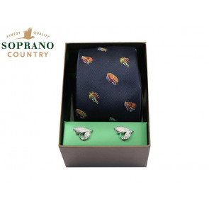 Soprano Fishing Flies Silk Tie and Cufflink Box Set