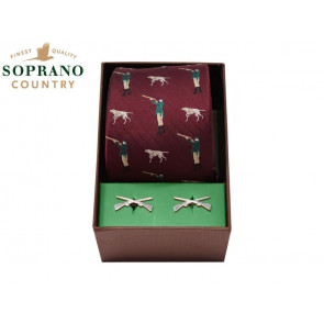 Soprano Hunter and Pointer Dog Silk Tie and Cufflink Box Set