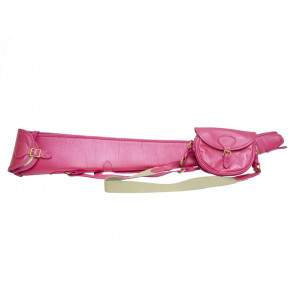 Pink Leather Gun Slip & Cartridge Bag