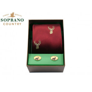 Soprano Stags Silk Tie and Cufflink Box Set