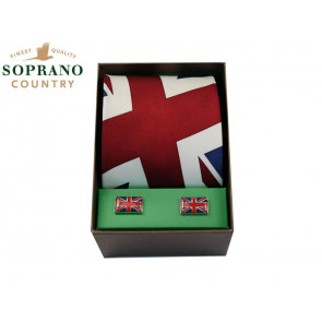 Soprano Union Jack Silk Tie and Cufflink Box Set
